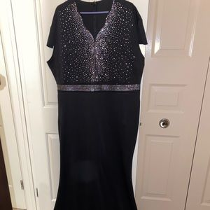 Short sleeve rhinestone plus size evening gown